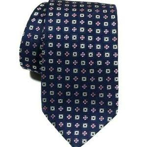 BRIONI Blue Purple Squares geometric silk tie